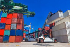Crane unloading cargo